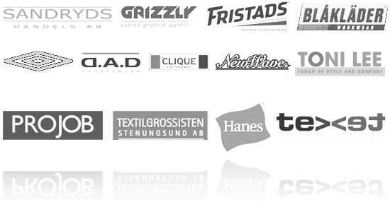 Umbro, Fristads, Pro job, New wave, Grizzly, Toni Lee, Clique, Blåkläder, Hanes, D.A.D, Sandryds
